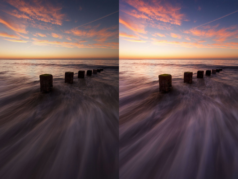 Photo de coucher de soleil avant et après le post-traitement